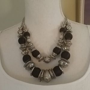 NWT $28 ERICA LYONS Silver & Black Necklace